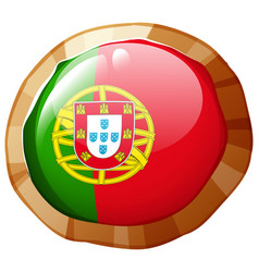 portugul flag on round badge vector image