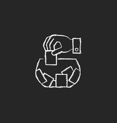 Raffle chalk white icon on dark background vector