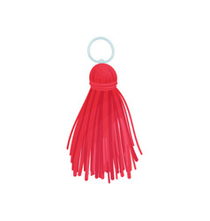 Red tassel from threads on vector