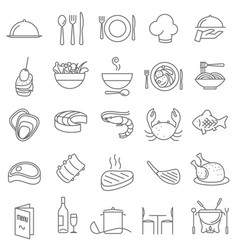 Restaurant thin line icons vector
