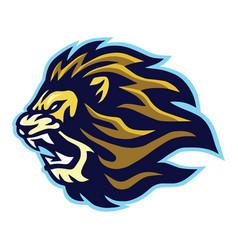 Roaring lion head logo esport mascot design vector