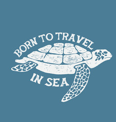 Sea turtle vintage label vector