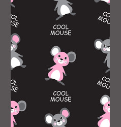 seamless pattern with cool mouse vector image