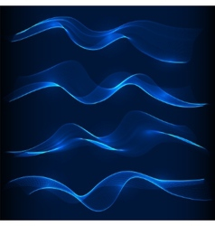 set blue smoke wave in dark background vector image