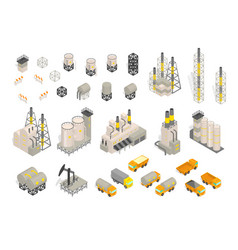 Set industrial factories plant building and vector