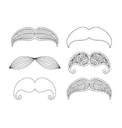 Set of graphic ornamental mustaches vector