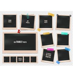 set of retro photo frames pictures vector image