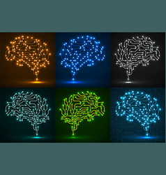 set technological neon brain circuit board vector image
