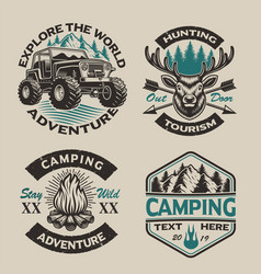 set vintage logos for camping theme vector image