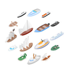 Ship and boat icons set isometric 3d style vector
