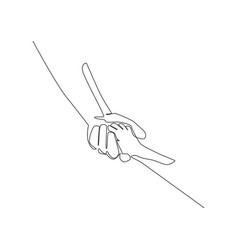single line draw father giving hand to his vector image