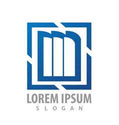 square bookshelf blue logo concept design symbol vector image