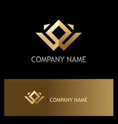 Square gold geometry company logo vector