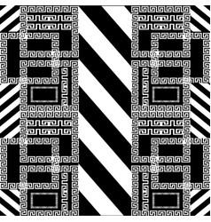 Striped geometric greek key meander seamless vector