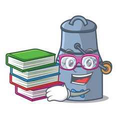 student with book milk can mascot cartoon vector image