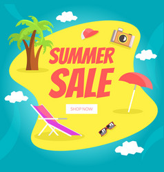 summer sale landing page template set happy vector image
