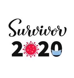 survivor 2020 calligraphy hand lettering vector image