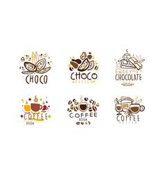 sweet chocolate logo original design set coffee vector image