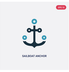 Two color sailboat anchor icon from people skills vector
