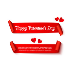 valentines day paper curl ribbon vector image