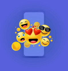 various funny emoticons out a blue smartphone vector image