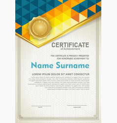 Vertical certificate template with triangle vector