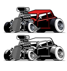 vintage american hot rod car with big engine vector image