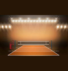 Volleyball court arena field with bright stadium vector