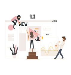 Web development concept with people attaching vector
