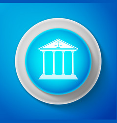 White courthouse icon isolated on blue background vector