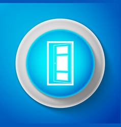 white open door icon isolated on blue background vector image