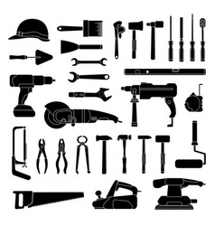 working hand tools silhouette construction and vector image