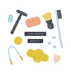 Zero waste beauty kit eco friendly reusable items vector