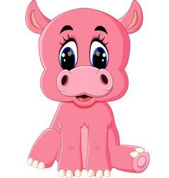 cartoon happy hippo sitting vector image