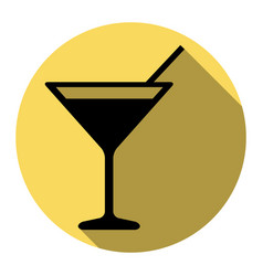 cocktail sign flat black vector image