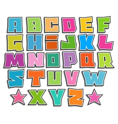 Graffiti color fonts alphabet with shadow on white vector