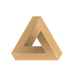 Abstract impossible triangle imitation wood vector
