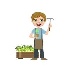 Boy in apron with a chopper vector