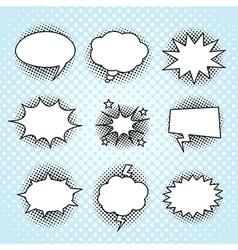Comic speech bubbles set vintage halftone print vector image vector image