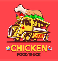 food truck crispy fried chicken wings fast vector image vector image