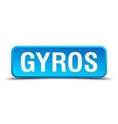 Gyros blue 3d realistic square isolated button vector image