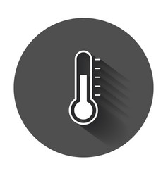 Thermometer icon goal flat with long shadow vector