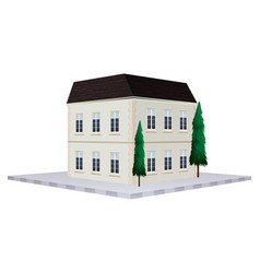 Two storey building painted in white vector