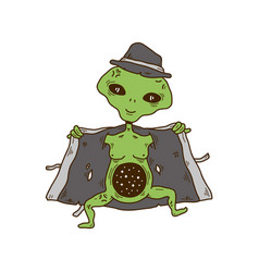 alien in a hat and coat show cosmos space vector image vector image