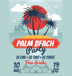 beach party retro summer poster or flyer vector image