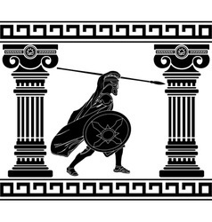 black warrior with with columns second variant vector image vector image