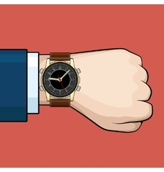 Businessman arm with hand watch vector image vector image