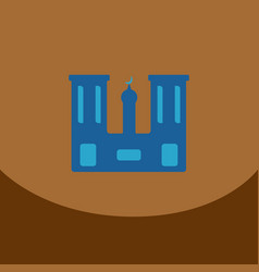 flat icon on brown square arabic mosque with the vector image vector image