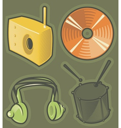 Green icons for music vector image vector image