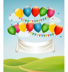 Happy birthday banner with balloons and landscape vector image vector image